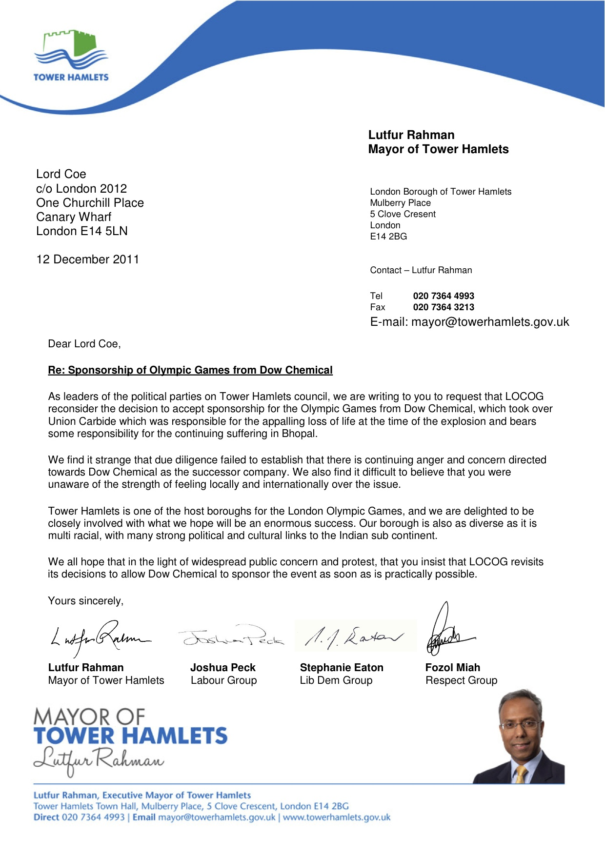 dow olympics tower hamlets leaders write to coe trial