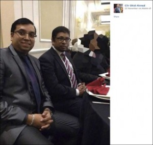 A fit and well Cllr. Ohid Ahmed at a dinner on the evening of Friday 22 Nov 2013