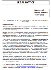 These Muslims think they're above the law. Click to see letter.
