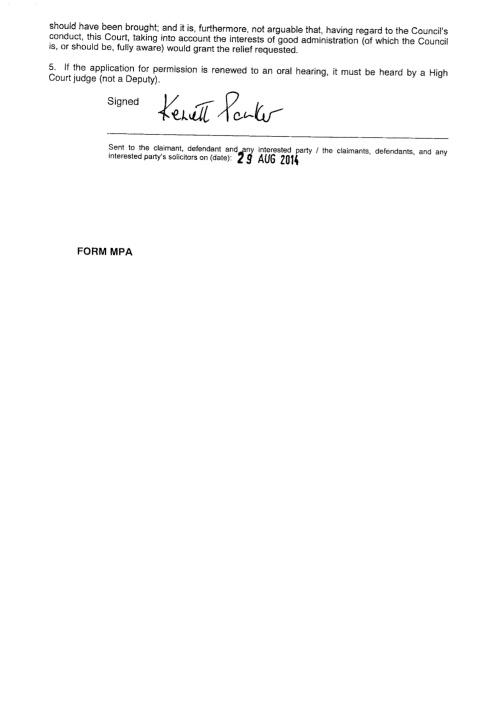 3a - Tower Hamlets Judicial Review Judgement
