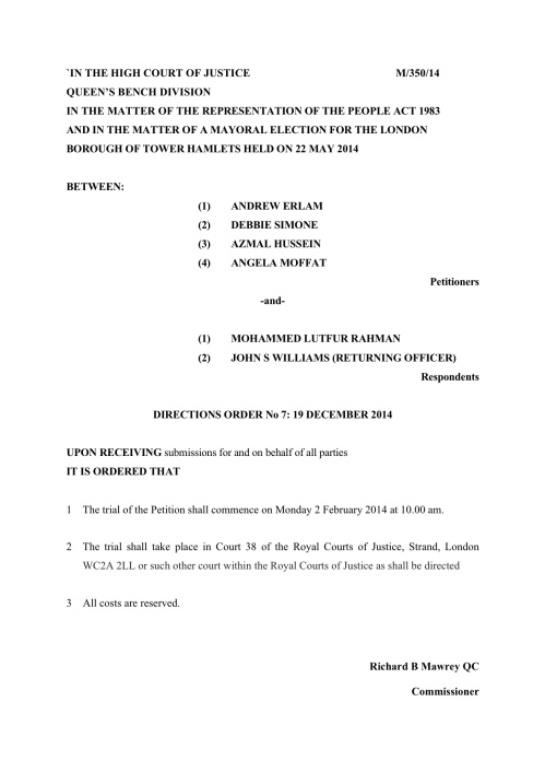 Judge Richard Mawrey ruling on Tower Hamlets