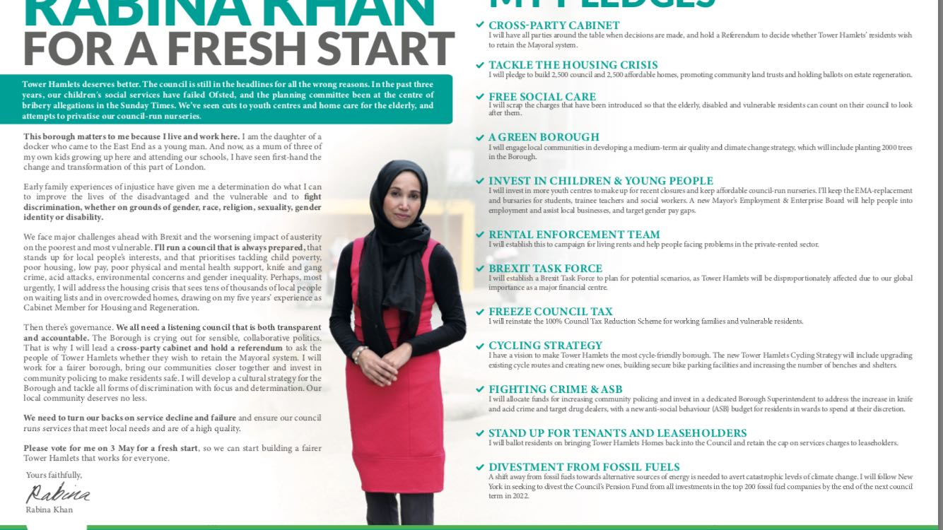 Rabina Khan's promises for a 'fresh start' and a referendum on the